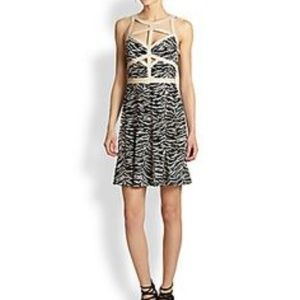 Rebecca Taylor  Tiger Leather Trim Cage Dress